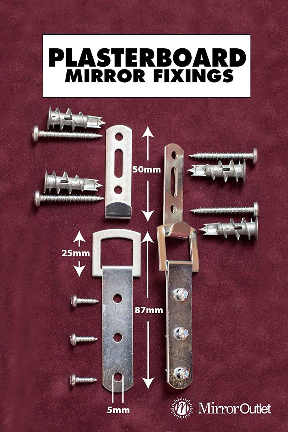 Heavy Duty Mirror Fixings + Hooks + Straps + Fittings for a Plasterboard Wall Mirroroutlet