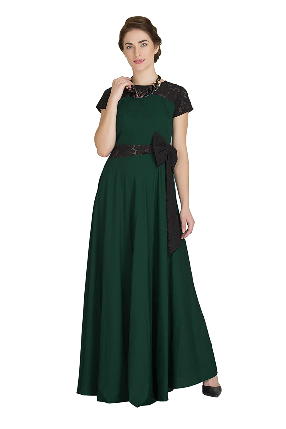 6e003fff608 Raas Prêt Women s Crepe Green Black Flared Maxi Dress Gown with Side Bow  Detailing  Amazon.in  Clothing   Accessories