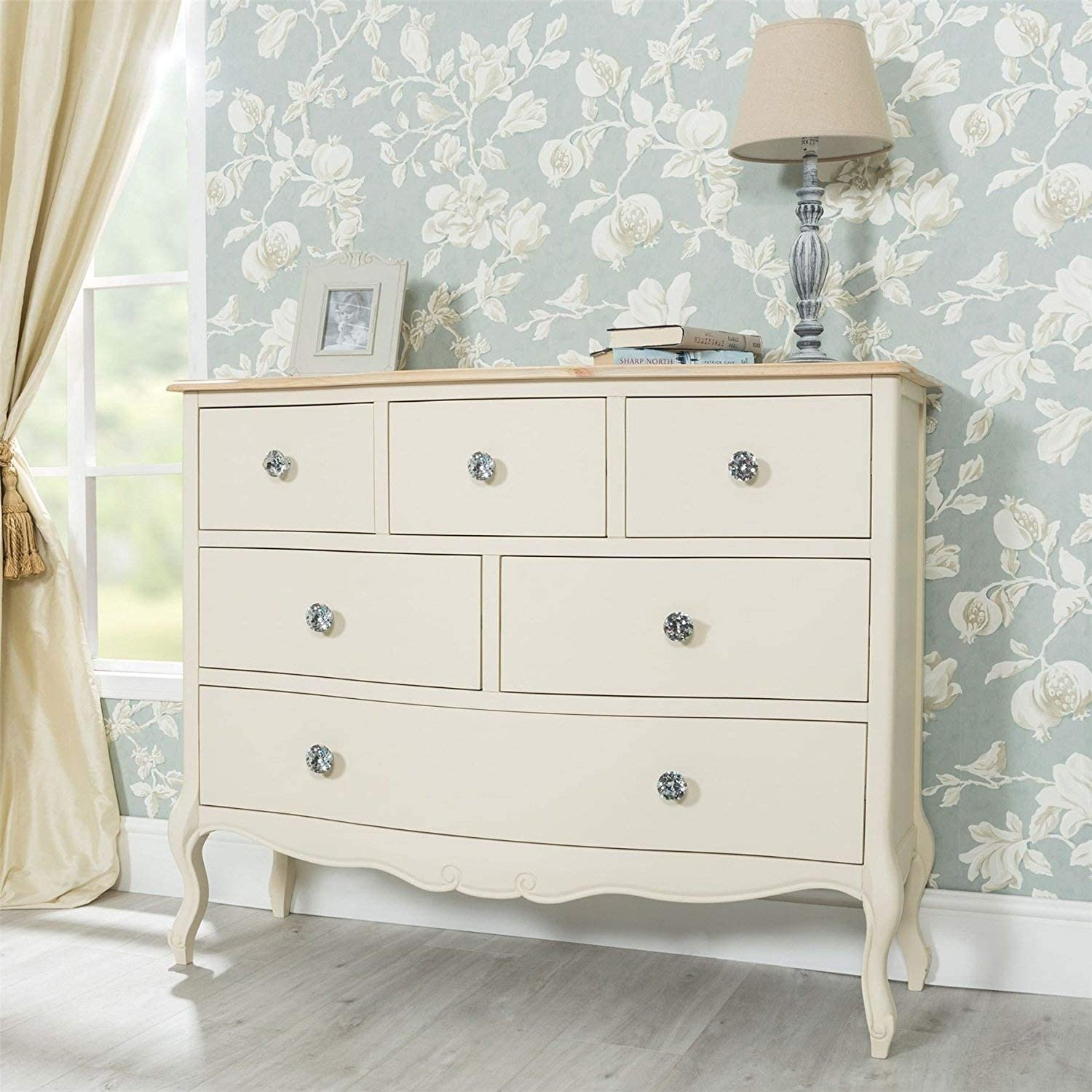 FULLY ASSEMBLED Juliette Champagne 6 drawer chest French cram chest of drawers 100x81