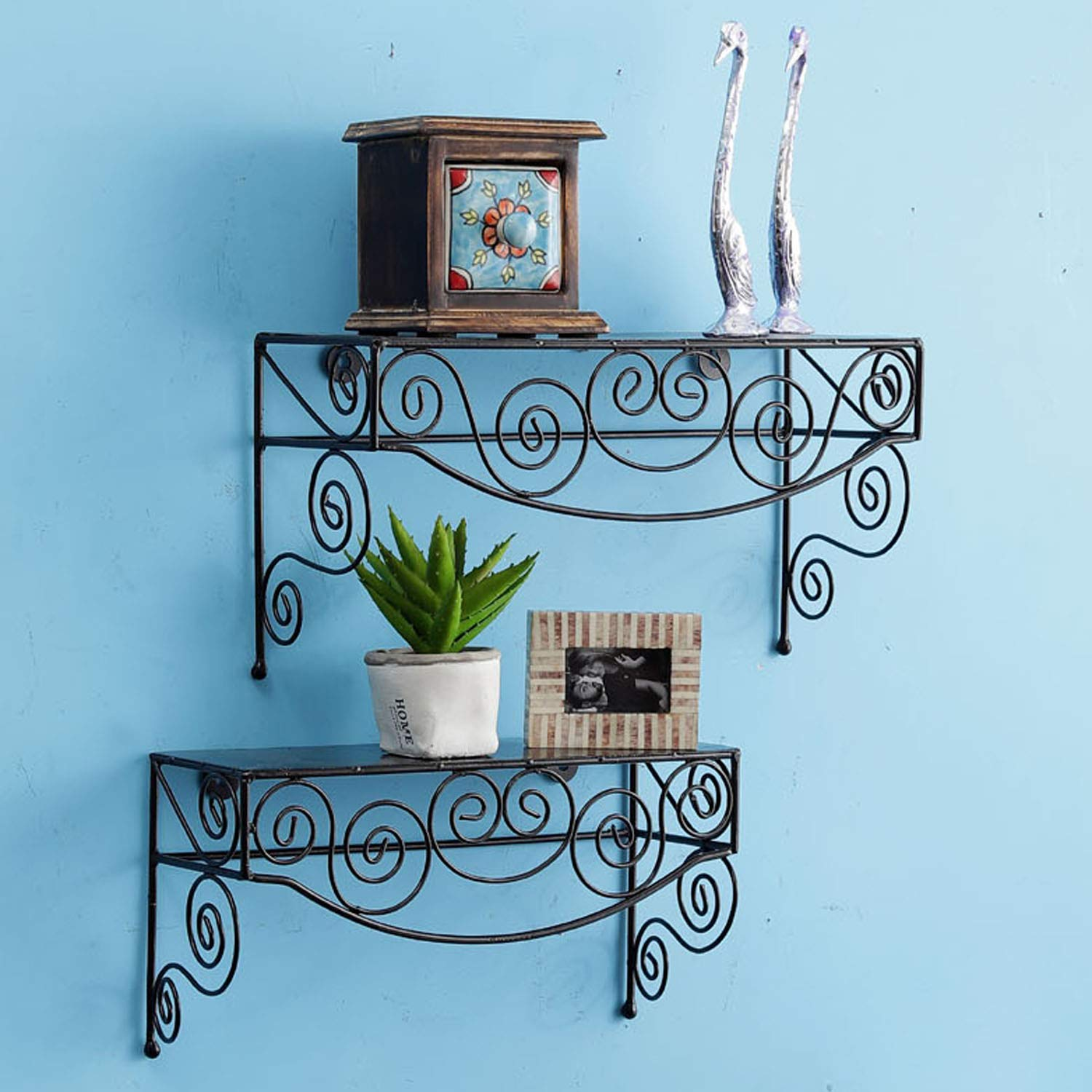 Artesia Mild Steel Decorative Home Decor Wall Shelf For Living Room And Kitchen Amazon In Electronics