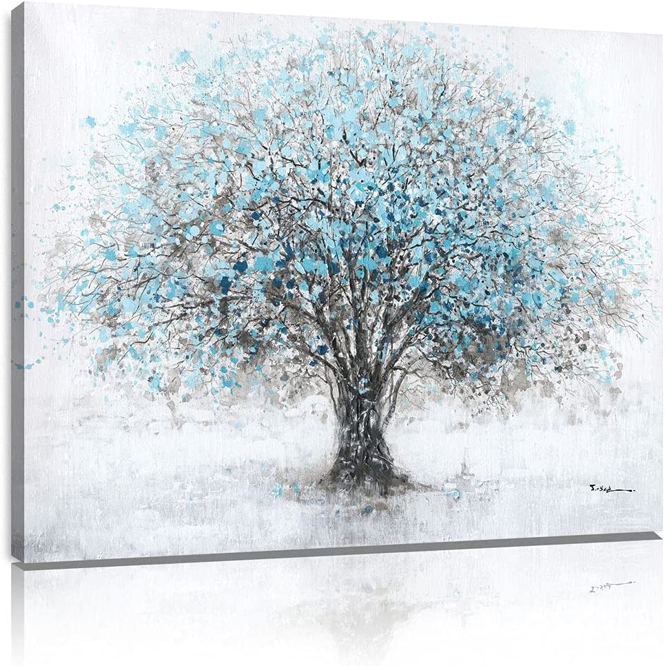 Abstract Blue Tree Wall Art Tree of Life Canvas Painting Poster Black And White Grey Tree Print Artwork Decor Big Tree Wall Decorations for Living Room