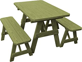 product image for Pressure Treated Pine 4 Foot Picnic Table with Detached Benches-Linden Leaf Stain