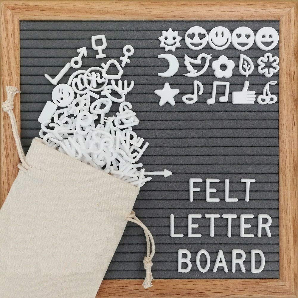 Gray Felt Letter Board 340 White Letters, Numbers & Symbols 10 x 10 Inches Changeable Wooden Message Board Sign Oak Wood Frame Comes With a Wall Mount, Plastic Stand, Letter Pouch & Cutter