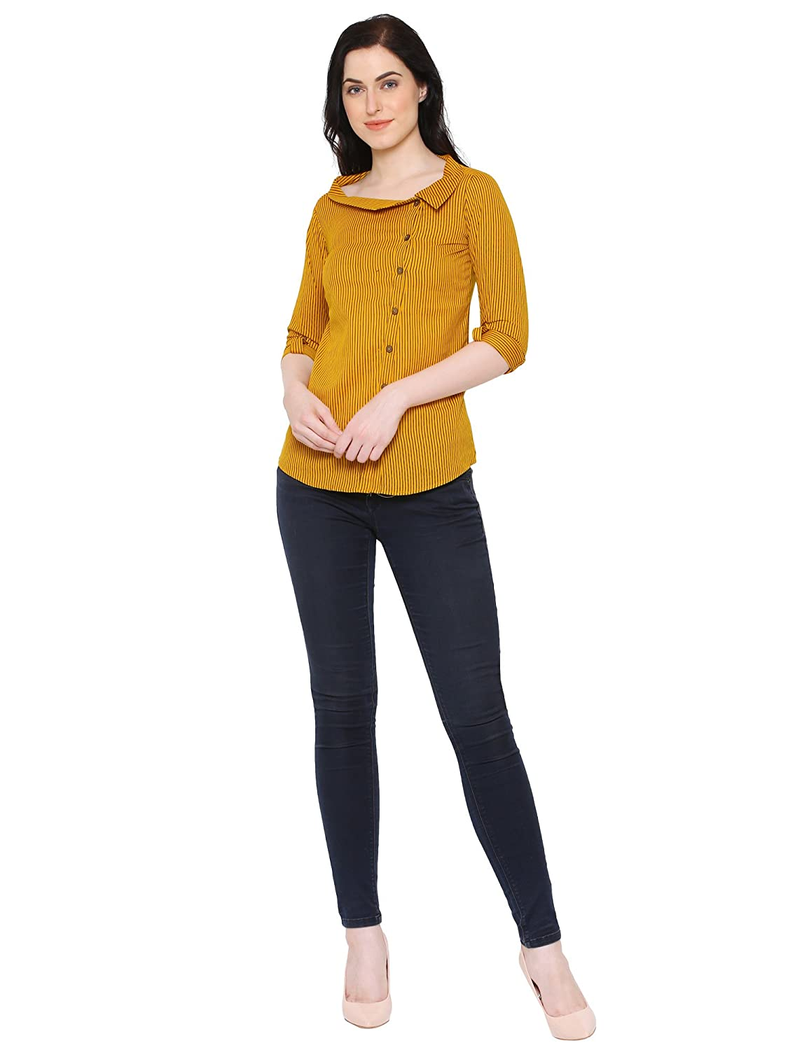 8a59eab1 Yash Gallery Women's Cotton Flex Stripe Print Western Top (Yellow):  Amazon.in: Clothing & Accessories