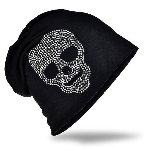 Jersey Slouch Beanie Long berretto con teschio strass applicati Unisex tinta unita colori uomo donna...