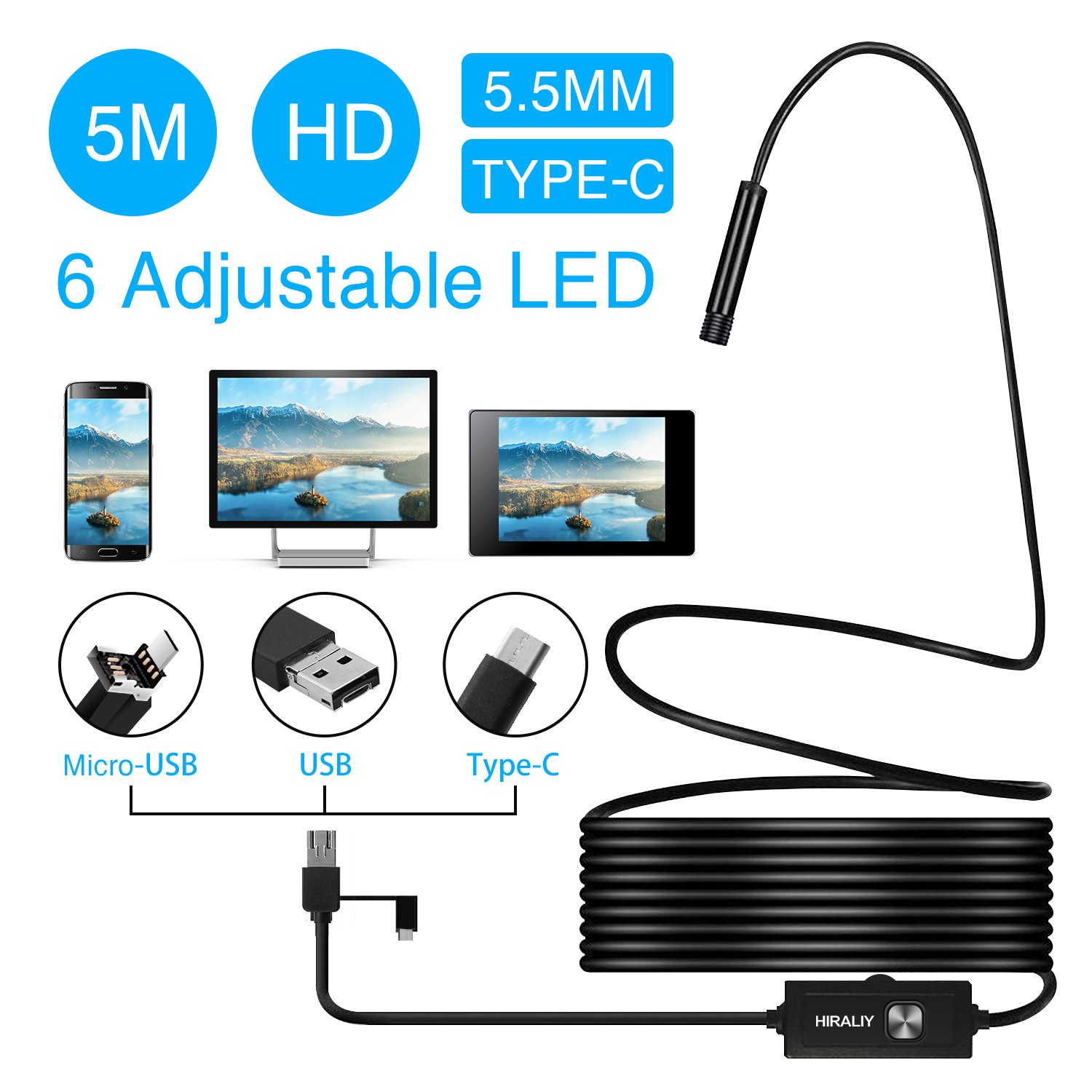 3 in 1 USB Endoscope Camera HIRALIY Semi-rigid Type C Borescope Inspection Camera 2.0 Megapixels HD Waterproof Snake Camera with 6 Adjustable Led Light for Android Smartphone, Tablet & PC-16.4ft
