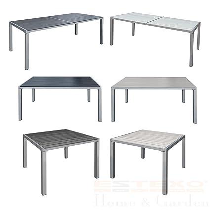 Gartentisch Beige 190x90x72 cm Alu WPC Terrassentisch Holzimitat Esstisch Tisch