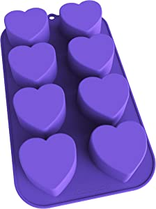 Bakerpan Silicone Mini Cake Pan, Muffin Baking Tray, Pastry Mold, 2 1/4 Inch Hearts, 8 Cavities (Purple)