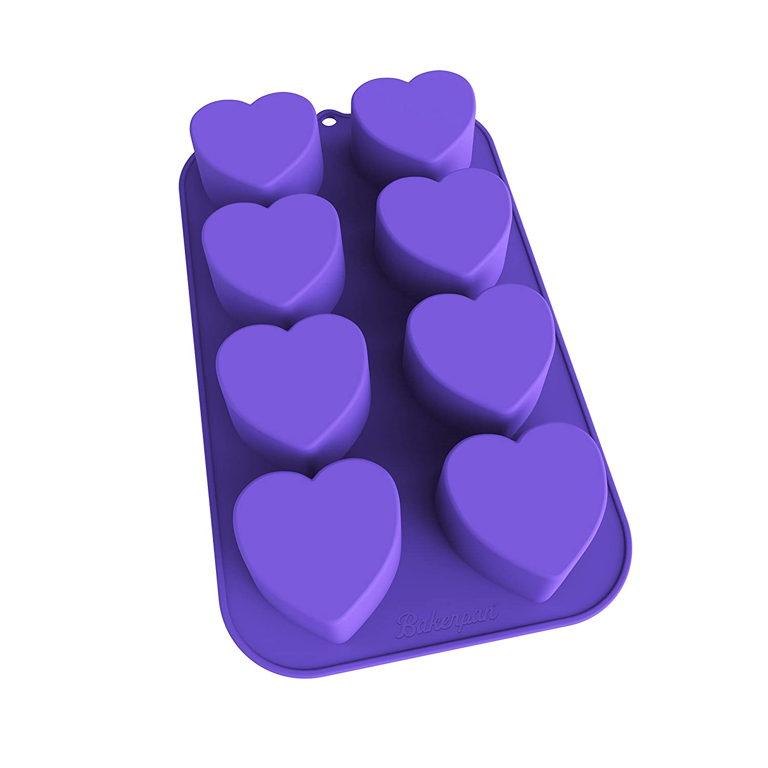 Bakerpan Silicone Mini Cake Pan, Muffin Baking Tray, Pastry Mold, 2 1/4 Inch Hearts, 8 Cavities (Purple) 02023