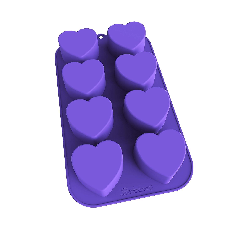 Bakerpan Silicone Mini Cake Pan, Muffin Baking Tray, Pastry Mold, 2 1/4 Inch Hearts, 8 Cavities (Purple) 02023