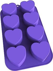 Bakerpan Silicone Mini Cake Pan, Muffin Baking Tray, Pastry Mold, 2 1/4 Inch Hearts, 8 Cavities (Purple)
