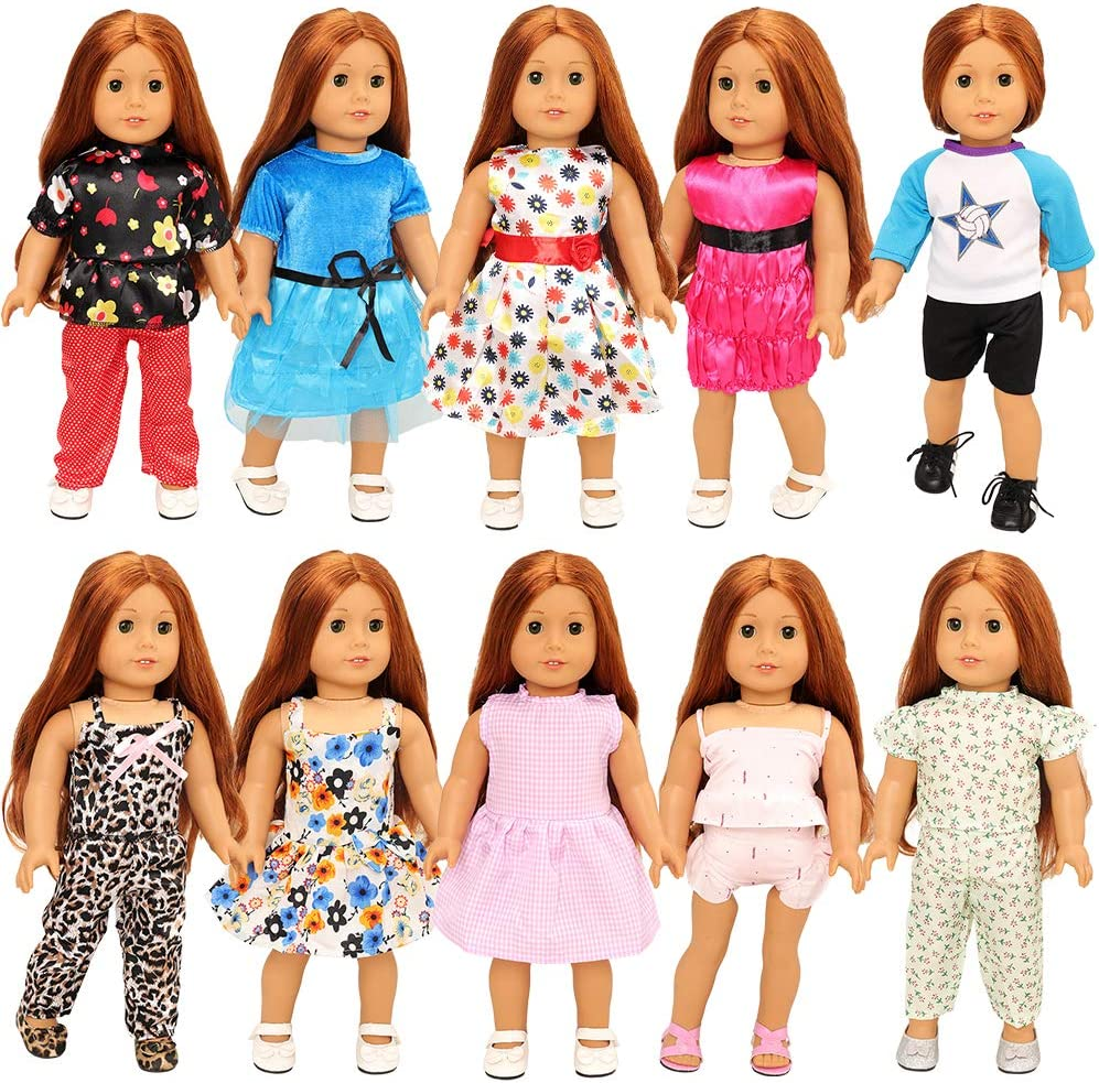 BARWA 10 Sets Girl Doll American Doll Clothes 5 Sets Clothes Outfits and 5 Sets Dress Compatible with 18 Inch Dolls Xmas Gift (Blue)