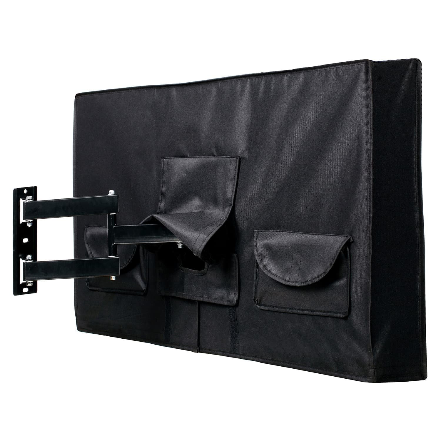 Outdoor TV Cover 52'' - 55'' - Fully Covered - Black - Weatherproof and Dust-Proof PVC Coated Oxford Fabric - Built to Last by Towber