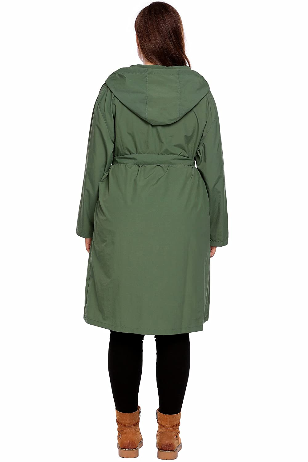 166f2564aba Amazon.com  IN VOLAND Women s Plus Size Raincoat Packable Hiking Travel  Hooded Rain Jacket Trench Windbreaker  Clothing