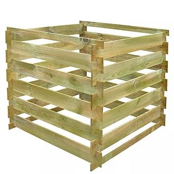 WEILANDEAL weilan Deal Madera compostador kompostbehalter Tableros de Madera Plaza 0,54 m3kompostbehalter with Material