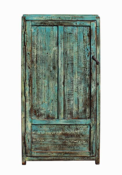 Amazon Com Chinese Distressed Blue Green Tall Iron Lock Armoire
