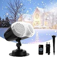 Luces de Proyector Navidad, Qxmcov Lámpara de Proyección de Nevadas para Exteriores e Interiores con Control Remoto…