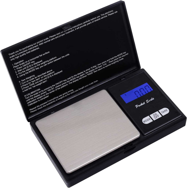 Escala de Bolsillo de precisión (precisión de 0.01g a 200g), Escala de Cusine, Escala de joyería con Pantalla LCD y función de Tara (Negro)