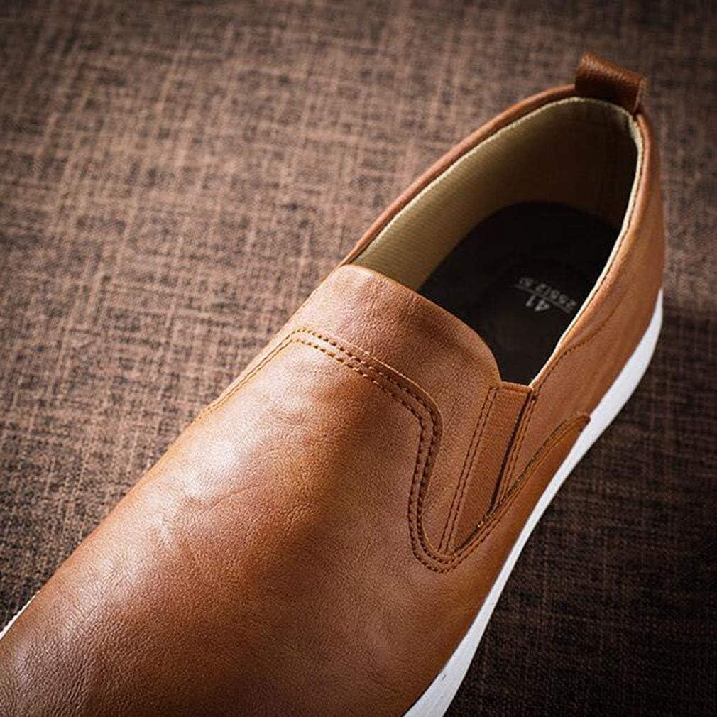 WIN&FACATORY herenmode Casual Loafers Sneakers Slip On schoenen platte lederen schoenen (kleur: ZWART, maat: EU39 / UK6.5 / CN40) laag Eu39/Uk6.5/Cn40-brown Eu40/Uk7/Cn41-bruin