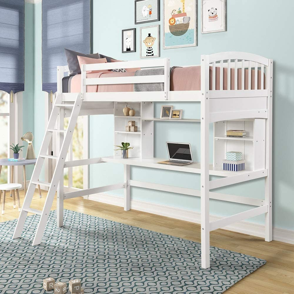 Amazon Com Wood Loft Bed With Desk Twin Size Study Loft Bed Frame With Angled Ladder Environmental And Natural Finish For Kids And Teens Kitchen Dining