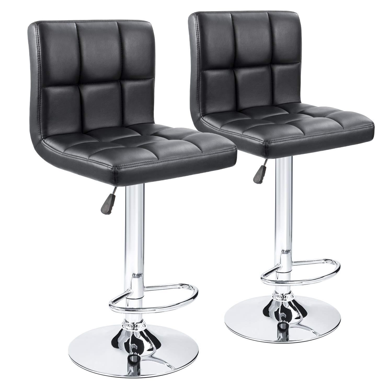 Furmax Bar Stools Pu Leather Swivel Adjustable Hydraulic Bar Stool Square Counter Height Stool Modern Black(Set of 2)