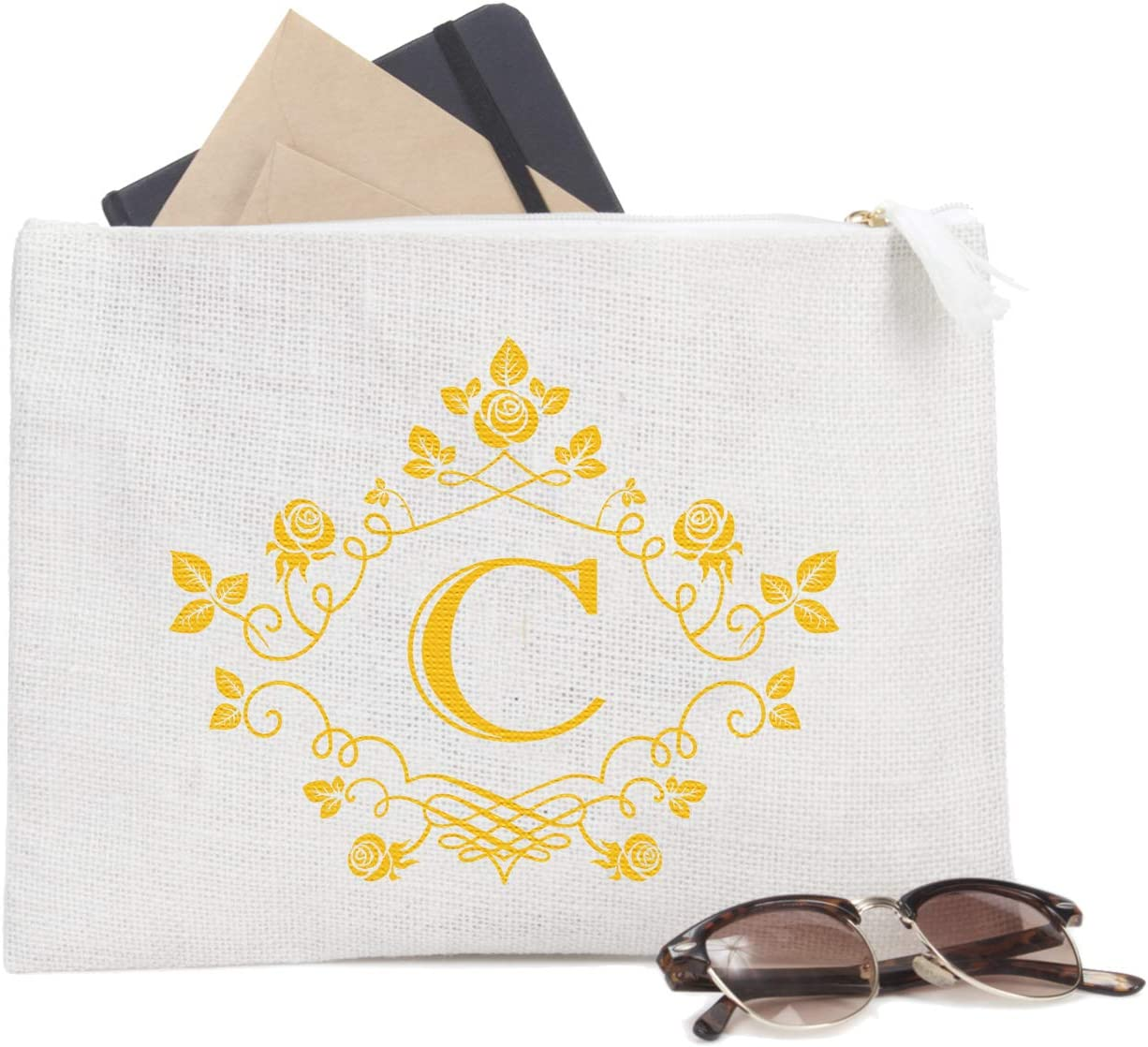 ElegantPark C Initial Monogram Personalized Travel Makeup Cosmetic Bag Jute Clutch Pouch Gifts with Zipper