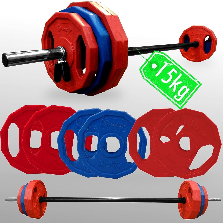 Juego de pesas Bodyrip poligonal pesa 15 kg + 2,54 cm estándar barra Fitness Studio: Amazon.es: Deportes y aire libre