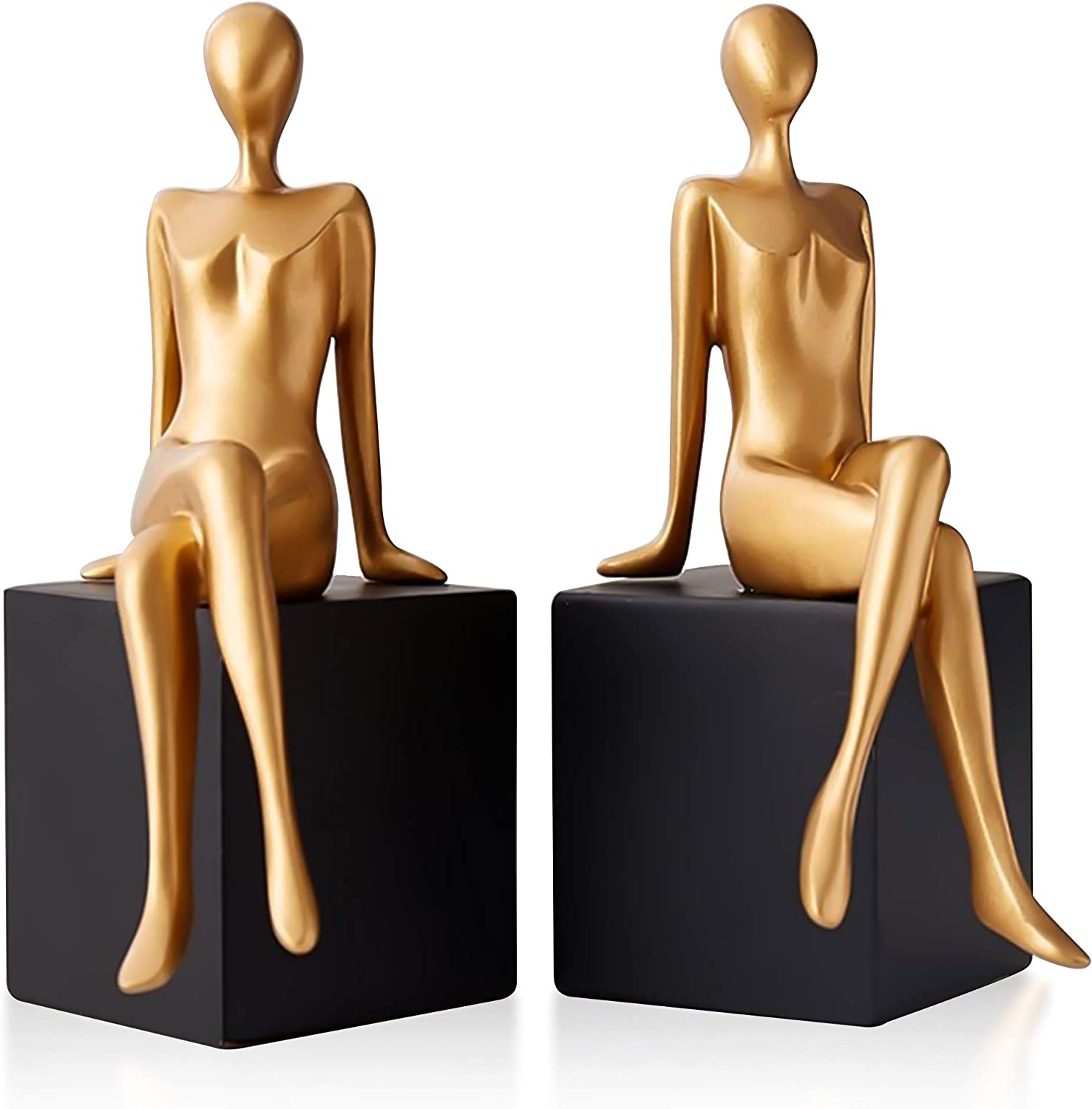 Modern Girl Statues Decorative Bookend Set. Add Modern Touch to Any Shelf or Table with These Unique Art of Confident Girl Statues. Use Them as Bookends Or Décor to Your Home and Office Modern Vibe!