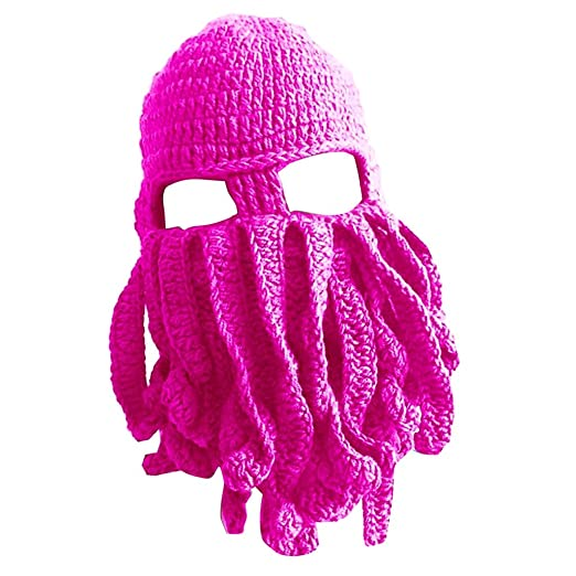 Dovewill Winter Mens Womens Funny Tentacle Octopus Cthulhu Knit Beanie Hat  Cap Wind Mask - Rose be85936028e