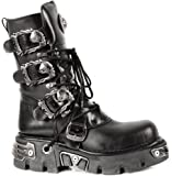 New Rock Metallic Negro Cuero Botas M.391-S1