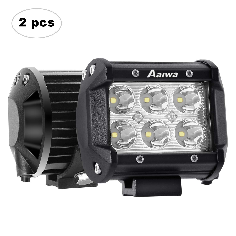 Fari LED Auto, AAIWA 4 Pollici 18W Faro da Lavoro LED Luce Barra Luminosa 2 Pezzi Fari Fendinebbia Fanalino Luce, 2 anni di garanzia
