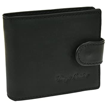 Mens Bifold Wallet Genuine Leather Press Stud Coin Pouch Note Card money Holder