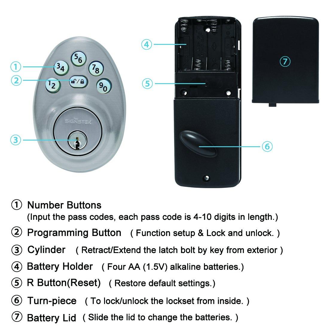Electronic Keypad Single Cylinder Deadbolt Smart Door Lock