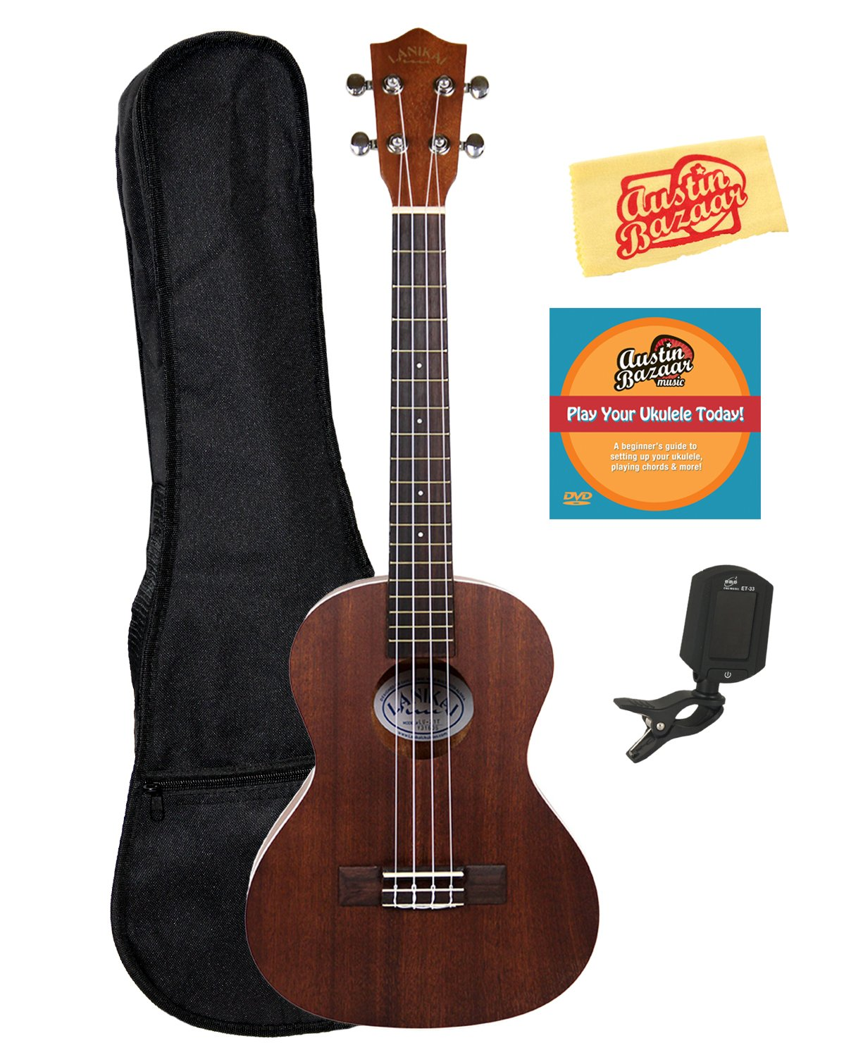 Lanikai LU-21T Tenor Ukulele Bundle with Gig Bag, Clip-On Tuner, Austin Bazaar Instructional DVD, and Polishing Cloth