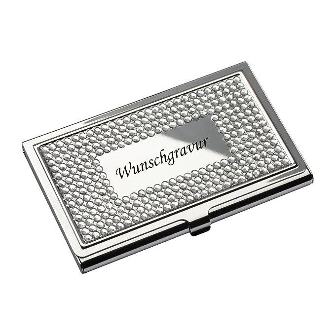 Visitenkartenetui Visitenkartenbox mit Gravur silberglänzend Metall