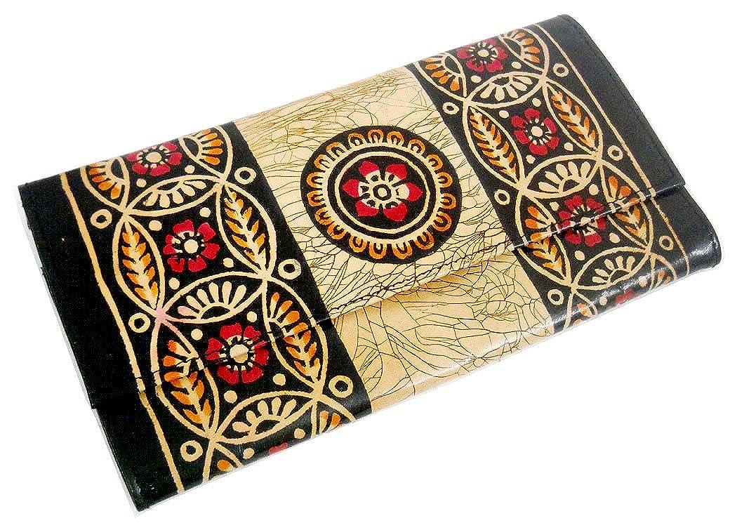 バティックデザインカラフルGenuine 100 % PureレザーShantiniketanクラッチハンドバッグ B01M7UQ5U7
