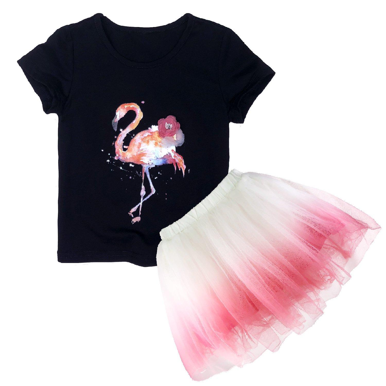 Minilove Girls Flamingo T Shirt Tutu Skirt Set(110,Black(Flamingo))