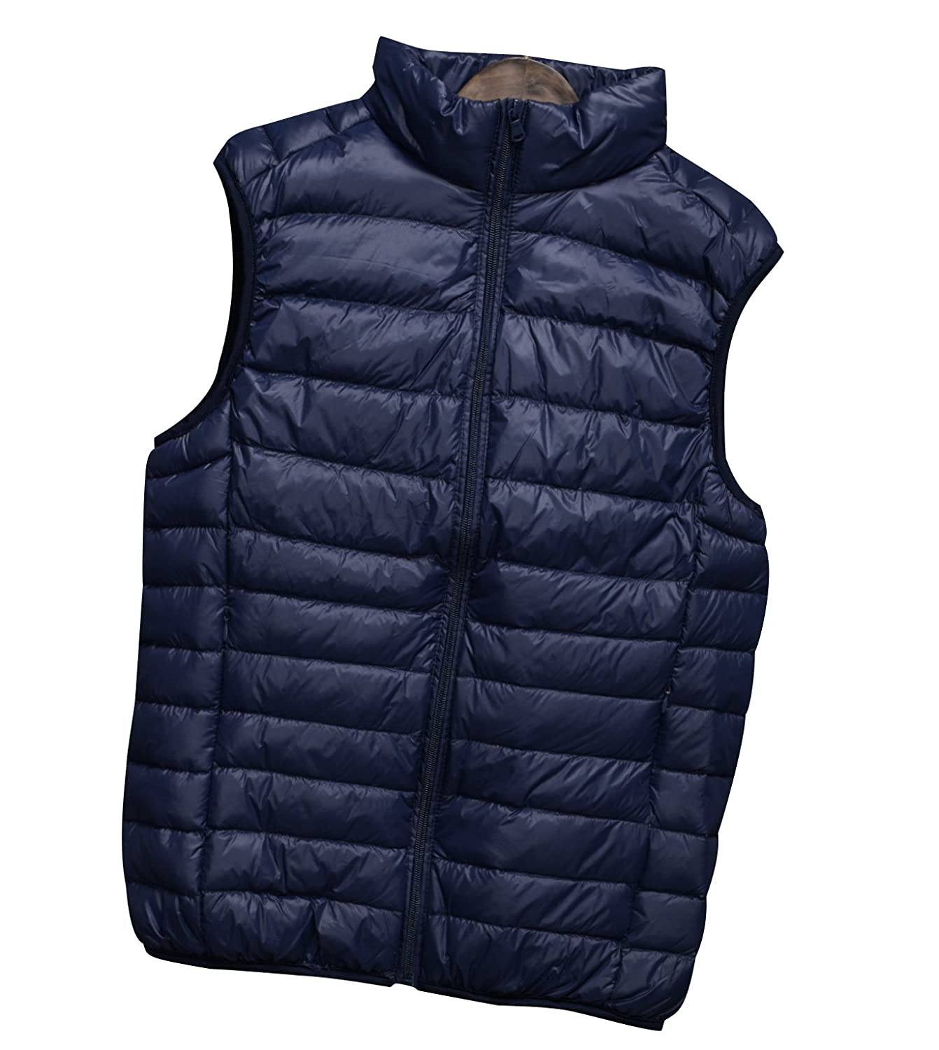 ISSHE Mens Down Gilet Down Puffer Vest Padded Gilet Lightweight Sleeveless Jacket Stand Collar Gilet Bodywarmers Quilted Packable Down Filled Puffa Gilets Jackets Bodywarmer Zipper Pockets Winter