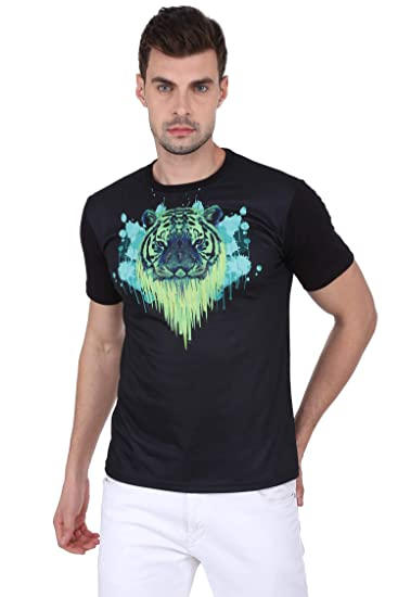 e2953654 Laughing Monk Psychedelic Tiger Black, Round Neck Tshirt: Amazon.in ...