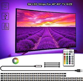 VOYOMO - Iluminación LED para TV (3 m, USB, mando a distancia de 24 teclas, para televisores de 50 a 65 pulgadas, PC, espejos y decoración de cocina): Amazon.es: Iluminación