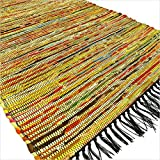 EYES OF INDIA - 3 X 5 ft YELLOW COLORFUL WOVEN CHINDI RAG RUG Boho Bohemian Indian Decor