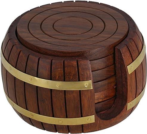 Compra De madera té posavasos, 6 posavasos con soporte de barril ...