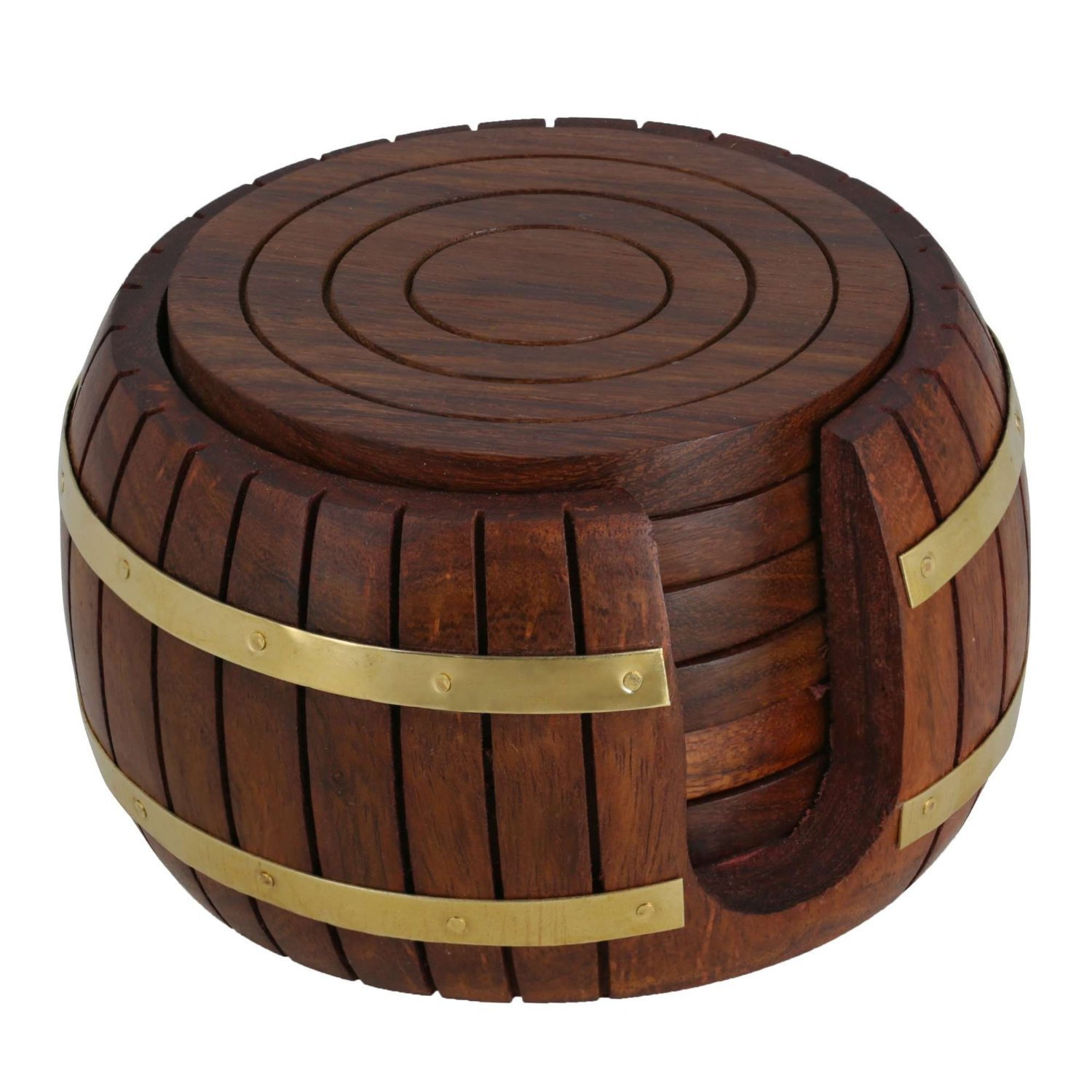 WhopperIndia Handmade Set of 6 Wooden Coasters for Drink Tea Coffee Table Barrel Coaster with Holder Stand Dining Home Decor