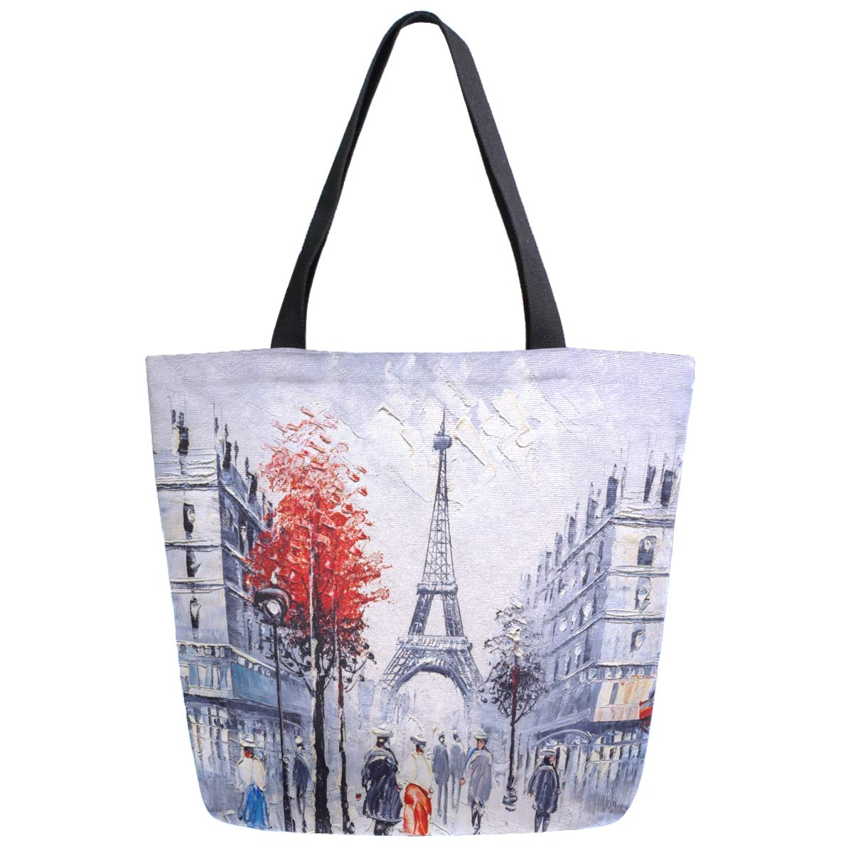 ZzWwR Stylish Paris Street Eiffel Tower Painting Print Extra Large Canvas Beach Travel Reusable Grocery Shopping Tote Bag for Women Girls