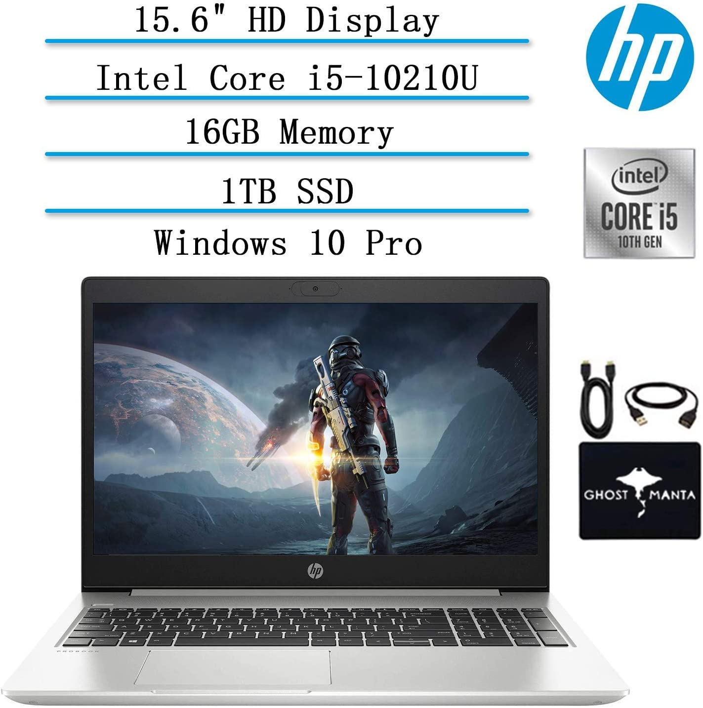 "2020 HP ProBook 15.6"" HD Laptop for Business and Student, 10th Gen Intel Quad Core i5-10210U (Beat i7-8665U), 16GB Memory, 1TB SSD, Backlit-KB, WiFi, USB-C, HDMI, Win10 Pro, w/ GM Accessories"