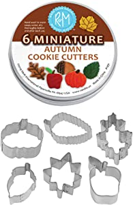 R&M International Mini Autumn Leaf Cookie Cutters, Acorn, Pumpkin, Oak, Maple, Aspen, Apple, 6-Piece Set in Gift Tin