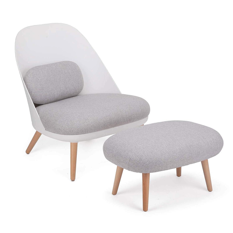 SoBuy FST63-HG Fauteuil Relax avec Repose-Pieds Tabouret Chauffeuse Salon Chambre Fauteuil de Relaxation Confortable de Qualite Luxe