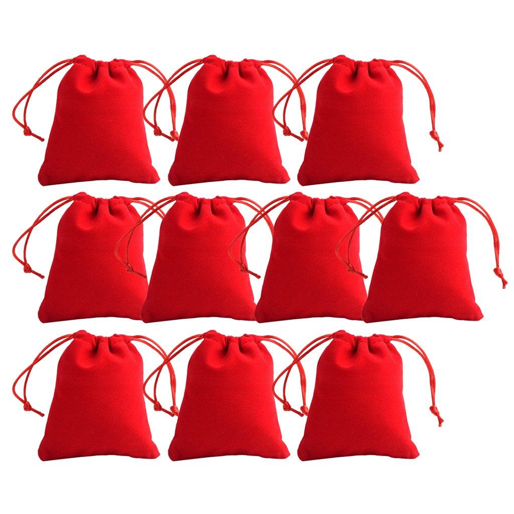 Baosity Pochette à Bijoux Sachet Cadeau à Corde Serrage Sac en Tissu - Rouge 10pcs