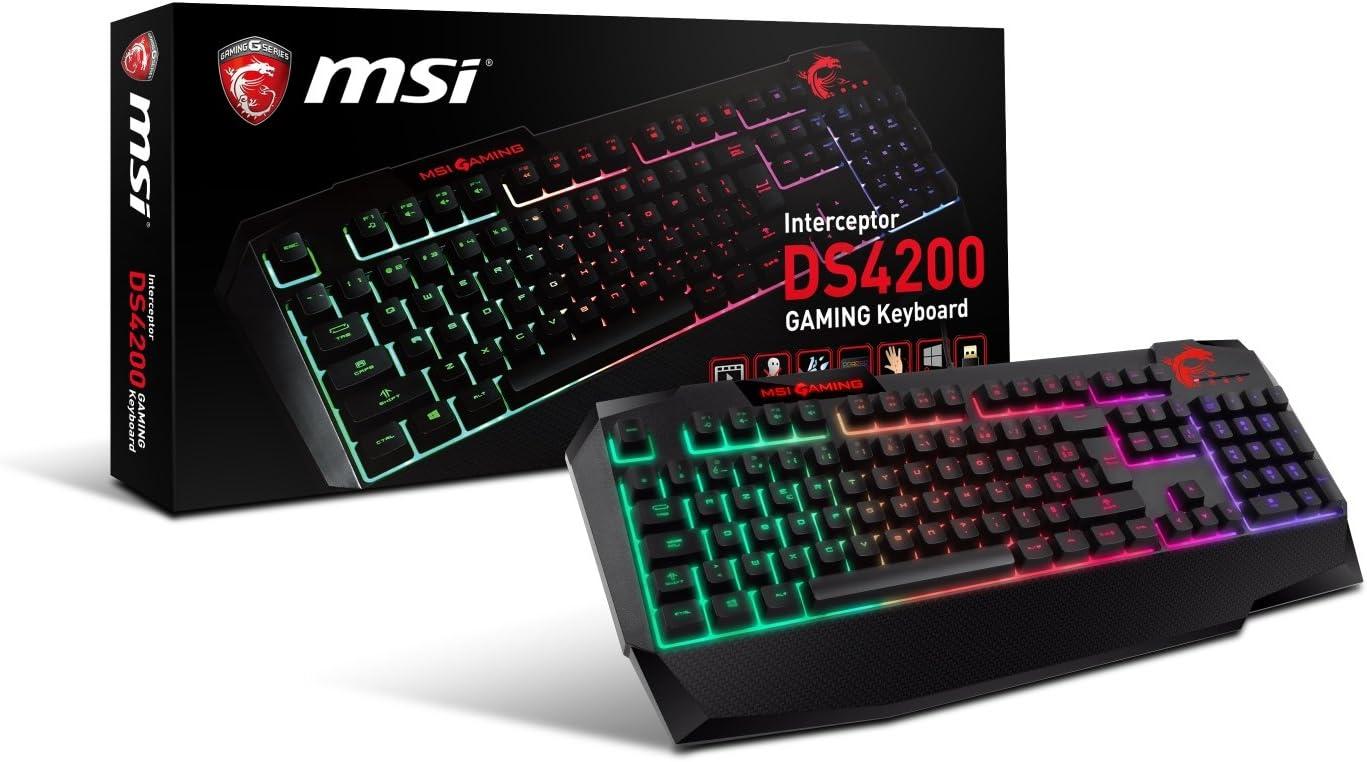 MSI Interceptor DS4200 con Cable PC Gaming Teclado mecánico – AZERTY (sensación) con retroiluminación RGB Resistente al Agua Membrana