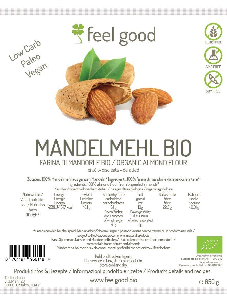 Harina de almendra sin gluten 500 g BIO libre de aceite: Amazon.es: Salud y cuidado personal